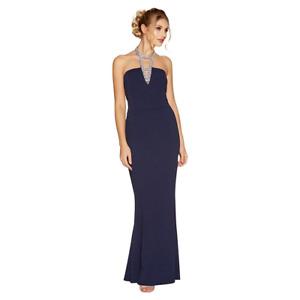 Quiz - Navy Diamante Choker Maxi Dress - Size UK6 , BNWT