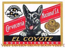 Original Unused 1950s Quezaltenango El Coyote Guatemala Beer Label Tavern Trove