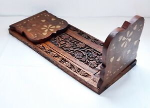 Lovely Vintage Carved Wooden Expanding Bookslide / Book Stand - Brass Inlaid