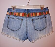 JUSTICE JEANS Blue Denim Cutt-Off Shorts Embroidered Bling Girls Sze 10R Stretch