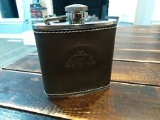 New listing Tequila Patron 5 Oz Brown Leather Wrap Stainless Steel Flask