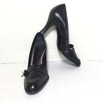 Women's Antonio Melani Black Leather Button Bow Toe High Heel Pumps Size 8.5 M