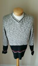 County Seat Men's V-Neck Gray Black Sweater Size M