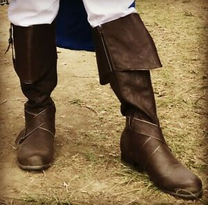 Brown Pirate Captain Medieval Knight Renaissance Faire Halloween Costume Boots