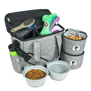 Dog Travel Bag Food Storage Containers Collapsible Bowls Pet Camp RV Hiking New