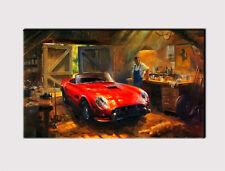 285 X LARGE CANVAS 18''x 32'' WALL OLD CAR REPAIR SHOP MAN FERRARI PRINT PICTURE