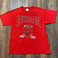 Vintage 80s Indiana University T Shirt Hoosiers IU Bloomington Basketball Size L