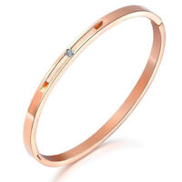 Women's Jewelry Rose Gold Stainless Steel Charm Wrist Bangle Bracelets Zircon