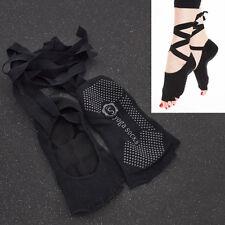 Yoga Non Slip Skid Toeless Socks Sport Dance Ballet Grip Socks with Silk Ribbon