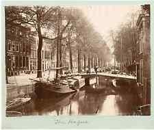 Hollande, La Haye Smidswater Vintage albumen print.  Tirage albuminé  17x22