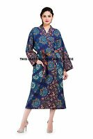 Indian Peacock Mandala Cotton Women Bath Robe Kimono Sleepwear Dress Hippie Gown