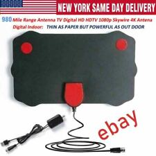 980 Miles Outdoor Flat HD Amplified TV Antenna with Amplified HDTV 1080P 13ft