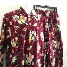Nick & Nora Men's Pajamas Cocktail Party Maroon Size Small S