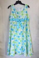 Girls size 18.5 Bonnie Jean Party dress blue green polka dots tulle sleeveless