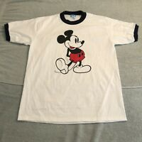Vtg 80s Mickey Mouse Disney T Shirt Ringer Tee White Blue 50/50 Medium / Large