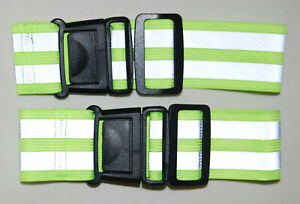 New! Tourun Neon Yellow 2-pc Set Reflective Elastic Running Bands with Buckle