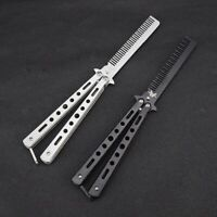 Outdoor Stainless Steel Training Trainer Butterfly Style Practice Knife Comb