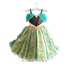 Disney Store Deluxe Frozen Princess Anna Coronation Gown Costume Dress 9-10 Nwt