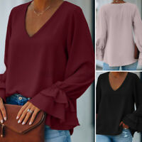 Womens Flare Bell Sleeve V Neck Top Tee Cocktail Party Shirt Casual Loose Blouse