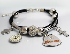White Gold Charm Name GEMMA Bracelet Birthday Christmas Easter Gifts For Her