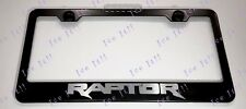 RAPTOR Ford F 150 Stainless Steel Black License Plate Frame Rust Free Caps