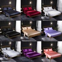 Soft Satin Silk Fitted Sheet+Flat Sheet+Pillowcases Fully Elastic Bedding Set