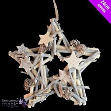 Rustic White Berry Star Twig Wreath Hanging Wall Door Christmas Decoration 24cm