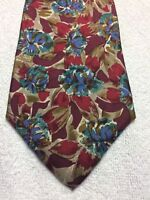 GEOFFREY BEENE MENS TIE BURGUNDY WITH BLUE BROWN AND GREEN 3.75 X 60