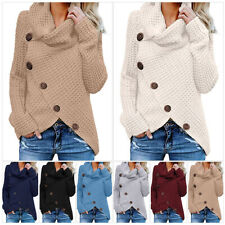 US Women Chunky Cowl Neck Asymmetric Hem Knitted Sweater Pullover Jumper Coat