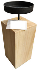 Kerzenständer, Kerzenhalter Holz/Metall (16cm x 8cm x 22cm), Natur