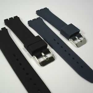 WATCH STRAP Fits SWATCH IRONY CHRONO 19mm Black Blue Rubber Silicone Quality