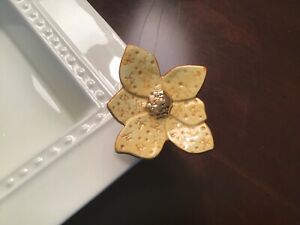 Nora Fleming Retired, Funky Yellow/Gold Lotus Flower Mini w/Nf Initial Rare HTH