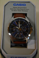 MEN'S CASIO MTPSW300L2TN CLASSIC MULTI FUNCTION BROWN LEATHER DAY/DATE & 24HOUR