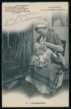 Breast feeding nude woman and poem French original 1910s postcard ethnic