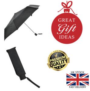 New Drizzles Plain Black Smart Compact Folding Handbag Size Super Mini Umbrella