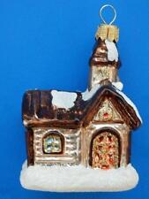 CHURCH EUROPEAN BLOWN GLASS CHRISTMAS TREE ORNAMENT BROWN