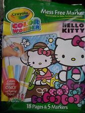 CRAYOLA COLOR WONDER~FEATURING HELLO KITTY~INCLUDES 18PGS&5 MARKERS~AGES 3+~NIP