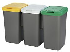 NEW!! TONTARELLI TRIO RECYCLE BIN, 3 X 25L WITH YELLOW, GREEN & WHITE LIDS