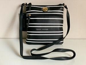 NEW! TOMMY HILFIGER BLACK WHITE MESSENGER CROSSBODY SLING BAG PURSE $69 SALE