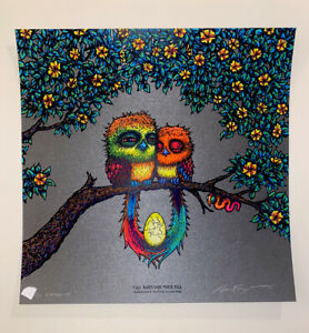 Marq Spusta Two Birds and Their Egg Eyes Open Graphite X/22! Silkscreen UV Inks