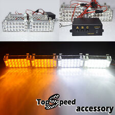 4 x 22 AmberWhiteLED 3 Modes Deck Dash Grille Hazard Flashing Strobe Lamps
