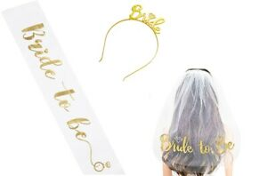 Bride to Be Hen Party, Bachelorette Party Set Veil, Sash & Tiara 3 Piece Set