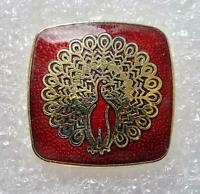 "Vintage Japanese Cloisonne Button Red with Gold Peacock 11/16"" NOS"