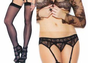 Garter Belt + Panty + Stockings Black  3pc Set Elegant Moments 1218Q 1725Q
