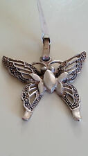 925 Sterling Silver Artisan Vintage Marcasite Butterfly Pendant Necklace Mexico