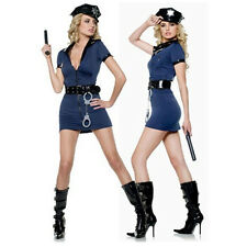 Ladies Navy Blue Cop Police Woman Costume Uniform Party Fancy Dress Outfits