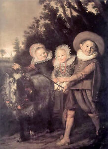 Oil painting frans hals - group of children & goat animals hand paint on canvas