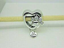 Authentic PANDORA Charm Sparkling Paw Print & Heart Bead 798873c01