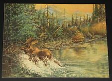 """VINTAGE PICCADILLY JIG PICTURE PUZZLE """"UNEXPECTED SHOT"""" MOOSE FOREST RIVER CIB"""