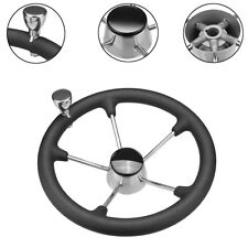 5 Spoke Stainless Steel Foam Grip Knob Steering Wheel Destroyer For Marine Boat